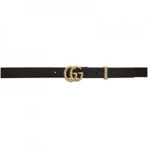 Gucci Black Leather Small Torchon GG Belt @ SSENSE