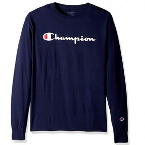 Champion Men's Classic Jersey Long Sleeve Script T-Shirt @ Amazon