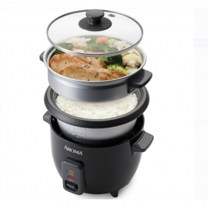 Aroma 6-Cup Rice Cooker And Food Steamer, Black @Walmart