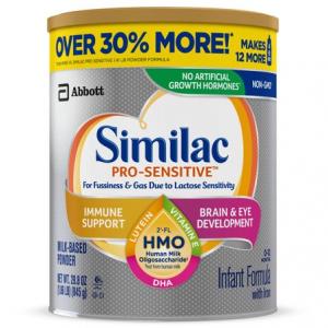 Similac Pro-Sensitive 嬰兒配方奶粉,29.8 盎司,4 罐 @ Walmart
