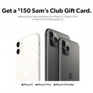 Sam's Club 预购iPhone 11系列送 $150礼卡