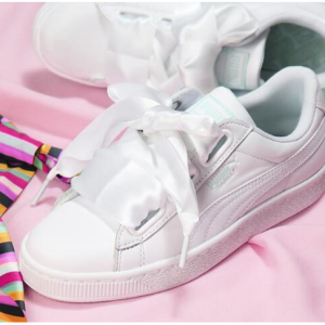 Puma patent basket heart trainer in white @ ASOS Asia