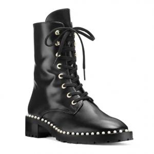 30% off Stuart Weitzman Women's Sondra Faux Pearl Combat Boots @Bloomingdales