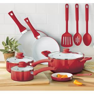 Mainstays Ceramic Nonstick 12 Piece Cookware Set, Red Ombre @ Walmart