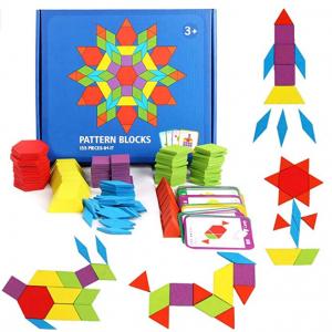 GEMEM 155 Pcs Wooden Pattern Blocks Set with 24 Pcs Design Cards @ Amazon