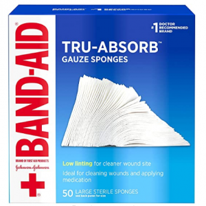 Band Aid Brand First Aid Products Tru-Absorb Gauze Sponges for Cleaning Wounds @ Amazon