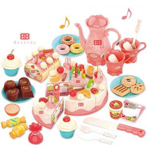 Besandy 82件套儿童切割生日蛋糕玩具 @ Amazon