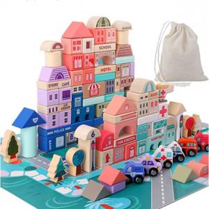 Migargle 木质城市交通情景儿童积木 @ Amazon