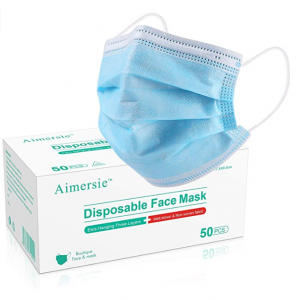 Aimersie 3 Ply Disposable Face Masks with 99 level PP Non-Woven, 50 Pack/Box @ Amazon