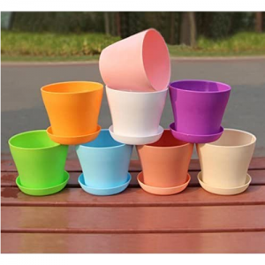 KINGLAKE 8隻4寸彩虹花盆,帶接水盤 @ Amazon