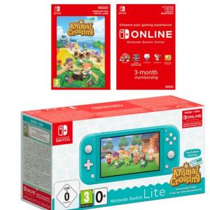 22% off Nintendo Switch Lite-Turquoise + Animal Crossing +3 Month Membership Bundle @ShopTo