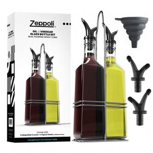 Zeppoli 17oz 玻璃橄欖油/醋瓶2個+不鏽鋼收納架+備用壺嘴