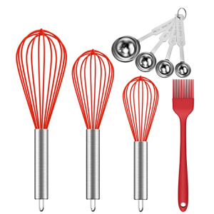 Ouddy 5 Pack Silicone Whisk Stainless Steel Measuring Scoop Set & Silicone Brush @ Amazon