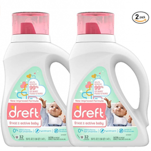 Dreft Stage 2: Baby Liquid Laundry Detergent Soap,64 Total Loads (Pack of 2) @ Amazon