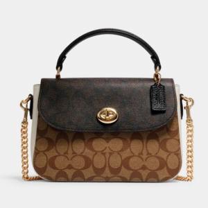 Coach Marlie Top Handle Satchel In Blocked Signature Canvas @ Coach Outlet