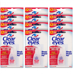 Clear Eyes Eye Drops, Redness Relief, Handy Pocket Pal 0.2 Fl Oz (Pack of 12) @ Amazon