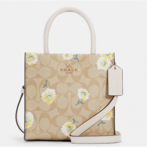 70% Off Coach Mini Cally Crossbody In Signature Canvas With Daisy Print @ Coach Outlet