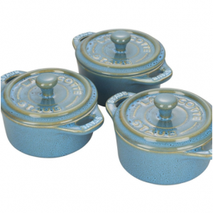 48% off Staub Ceramics 3-pc, Cocotte Set, Rustic Turquoise @Zwilling