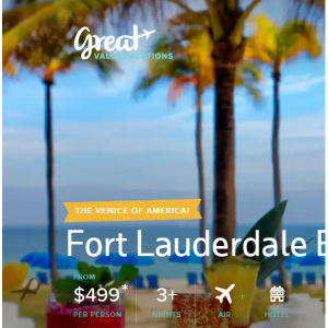 Fort Lauderdale Beach Escape from $499 @Great Value Vacations