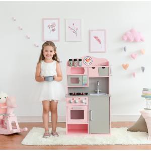 Teamson Kids 经典款儿童小厨房玩具套装,粉/灰色 @ Walmart