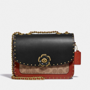 30% Off Coach Madison Shoulder Bag In Signature Canvas With Rivets And Snakeskin Detail