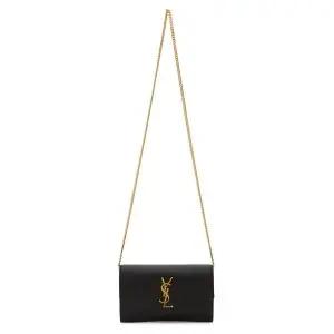 SAINT LAURENT Black Leather Uptown Wallet Bag @ SSENSE