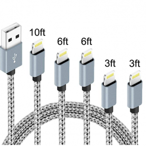 $5.20 off 5Pack(3ft 3ft 6ft 6ft 10ft) iPhone Lightning Cable for Apple @Amazon
