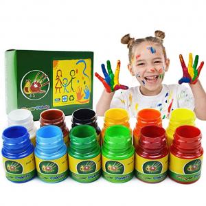 iMustech 儿童12色可水洗手指画颜料 @ Amazon