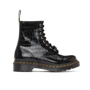 37% Off Dr. Martens Black Croc Patent 1460 Boots @ SSENSE