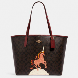 75% Off Coach City Tote In Signature Canvas With Unicorn @ Coach Outlet