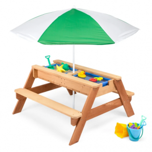 3-in-1 Kids Sand & Water Table Outdoor Wood Picnic Table w/ Umbrella @ Best Choice Products