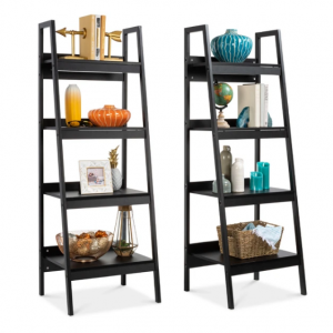 Set of 2 Wooden 4-Shelf Open Ladder Bookcase Displays w/ Metal Framing @ Best Choice Products