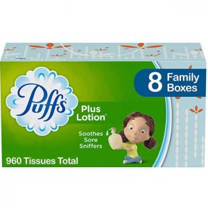 Puffs Plus Lotion Facial Tissues, 24 Family Boxes @ Amazon