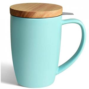 COYMOS Ceramic Tea Mug with Infuser and Lid, 16oz (Turquoise) @ Amazon