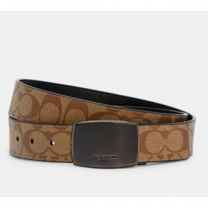 Coach Boxed Harness Plaque Reversible Belt In Signature Canvas $91.20 shipped