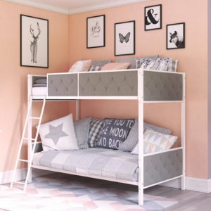 Chesterfield Upholstered Bunk Bed, White Metal with Grey Linen @ Walmart