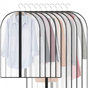 50% off Qisiewell Garment Bag Covers 10 Pieces Translucent Black Edges @Amazon