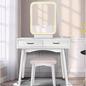 Amazon - FUNKOCO 两抽屉带LED梳妆镜化妆台/小书桌 含凳子 ,直降$125.99