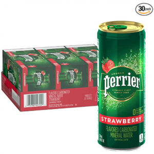 Perrier Strawberry Flavored Carbonated Mineral Water, 8.45 Fl Oz (30 Pack) Slim Cans @ Amazon