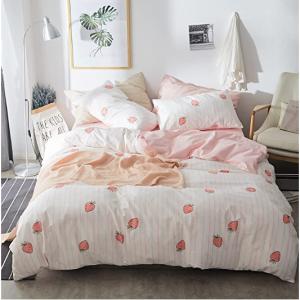 AOJIM 100% Cotton-Super Cute & Soft Kawaii Strawberry Bedding Set 3 PCS, Full/Queen @ Amazon