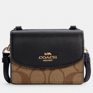 60% Off Coach Flap Card Case On Lanyard In Colorblock Signature Canvas @ Coach Outlet
