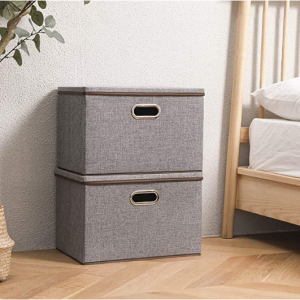 Baseshop 大號布藝可折疊帶蓋收納盒2個 @ Amazon
