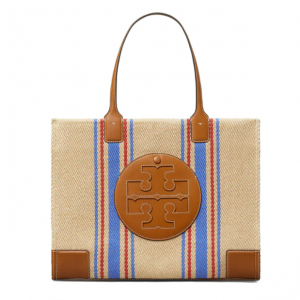 57% Off Tory Burch Ella Leather-Trimmed Striped Tote @ Saks Fifth Avenue