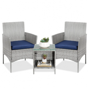 3-Piece Outdoor Patio Wicker Bistro Set w/ Side Storage Table @ Best Choice Products