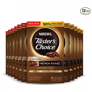 Nescafe Taster's Choice Instant Coffee, French Roast (Pack of 12) @ Amazon
