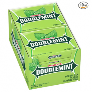 WRIGLEY'S DOUBLEMINT Chewing Gum, 15 pieces (10 packs) @ Amazon