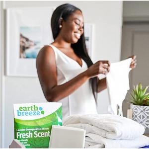 Earth Breeze Liquidless Laundry Detergent Sheets - Fresh Scent - No Plastic (60 Loads) 30 Sheets