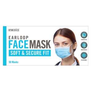 HoMedics Earloop Style General Use Face Mask, 50 Blue Disposable Masks for $9.99 @ Costoco