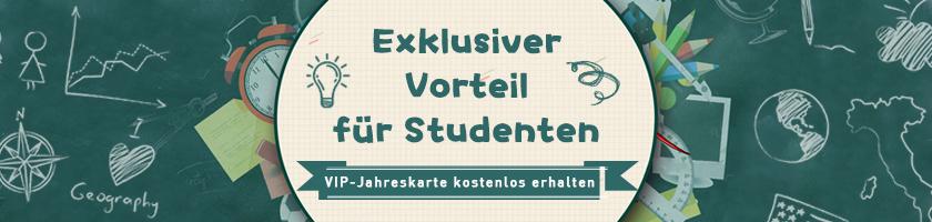 Studentenvorteile kommen - VIP-Karte bekommen Sie kostenlos!
