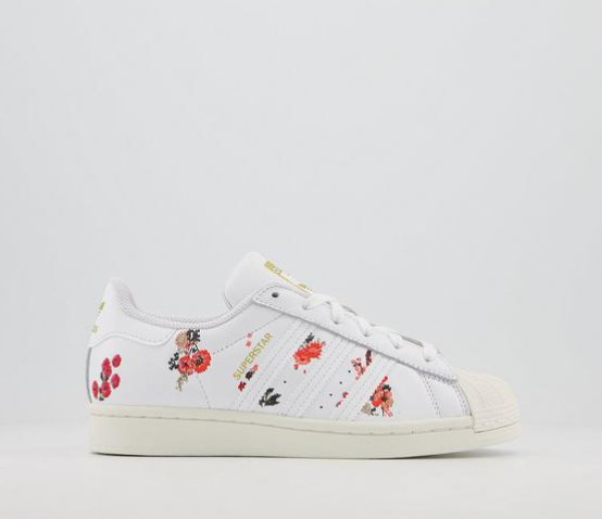 38% off adidas Superstar Trainers White Off White Floral @ OFFICE ...
